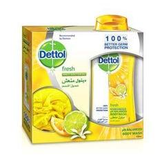ديتول جل استحمام  الليمون منعش 250 مل مع ليفة